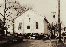 The Free Meeting House being moved to its location as the Mt. Healthy Historical Society Museum, mid-1960s